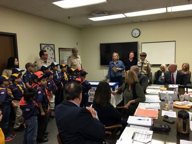 Boy Scouts arrive a Clifton Cares packing night