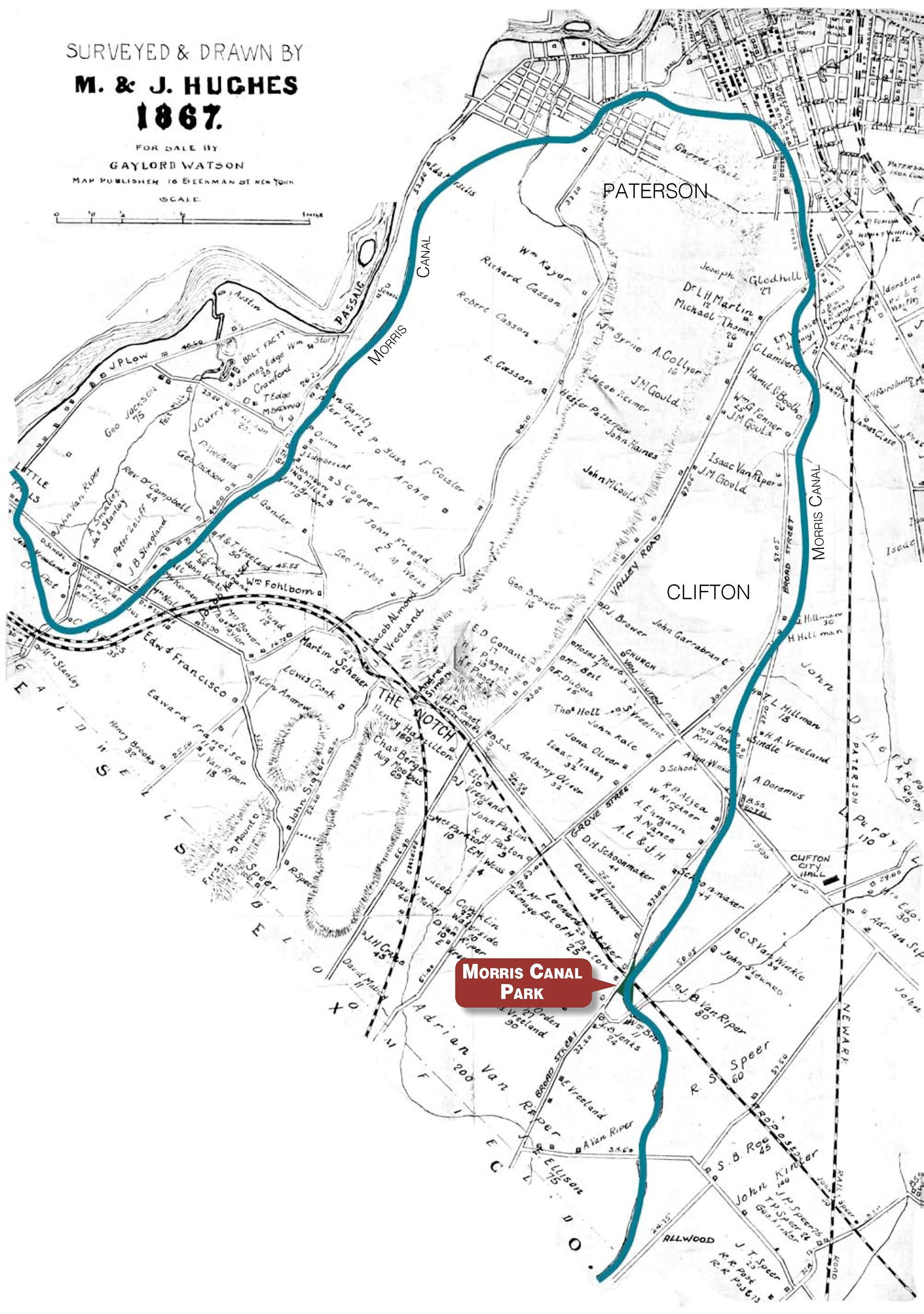 Map of the Morris Canal