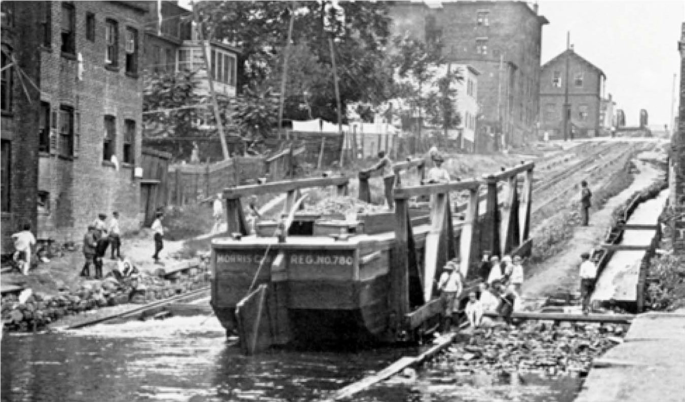 People embarking down the Morris Canal
