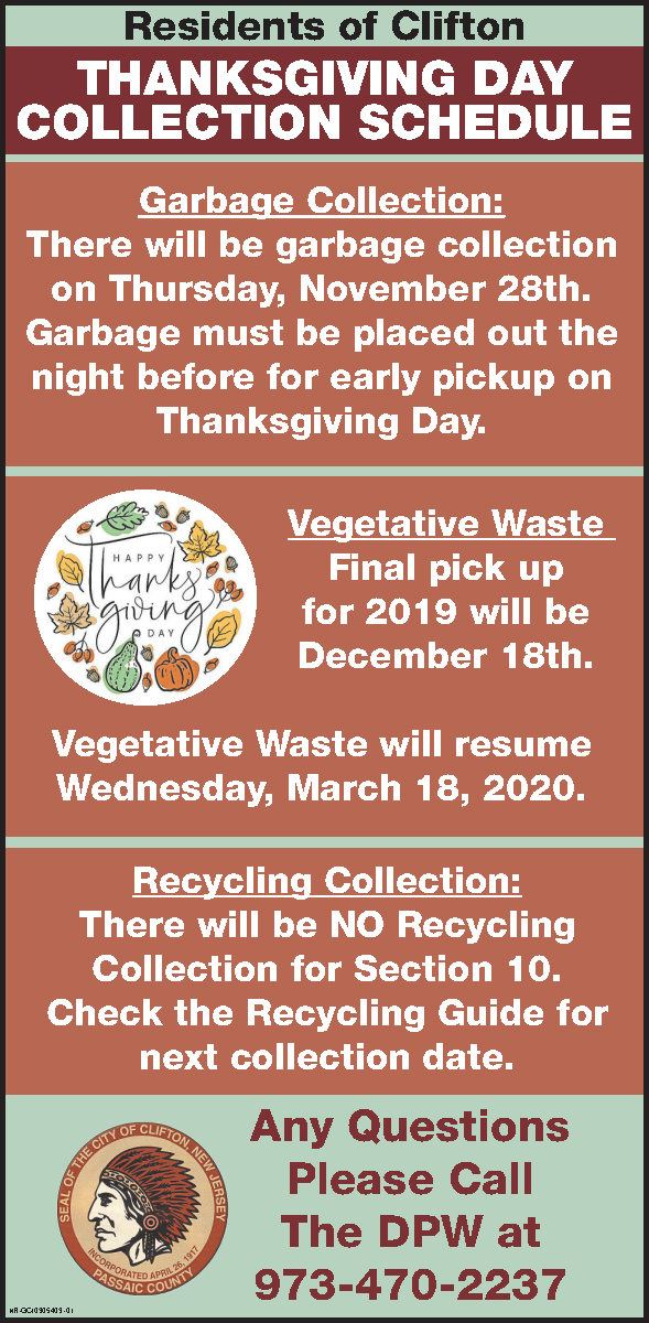 Thanksgiving day Collection-schedule 2019